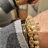 8mm AAA+ Micro Pave 3 Piece Mens Luxury Ball chain Braided Kings Crown Bracelet Set