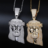 New AAA Iced Large Jesus 14k Yellow Gold White Gold Hip Hop Chain