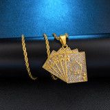 14k Gold AAA Cluster Stone Flooded Ice Bling Hearts Poker Stainless Steel Hip Hop Pendant Chain Necklace