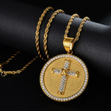 14k Gold over Titanium Stainless Steel Flooded Ice Circle Cross Hip Hop Pendant Chain
