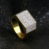 AAA True Micro Pave Flooded Ice Square Cut Mens Hip Hop Rings