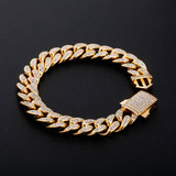 Mens Iced 12mm Stainless Steel Miami Cuban Link Spring Clasp Hip Hop Bracelets