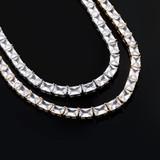 Ladies 14k Yellow White Gold 6mm Long Baguette Prong Set Tennis Chain Necklace
