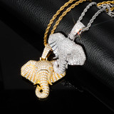 True Micro Pave Elephant Symbol of Peace 18k White Yellow Gold Hip Hop Pendants