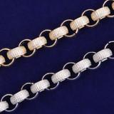 Flooded Ice 18k Gold .925 Silver 10mm Open Rolo Link Hip Hop Street Wear Bracelet
