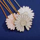 BlingJewelz Plucked Daisy 14k Rose Gold 925 Silver Bling Bling Fashion Iced Necklace