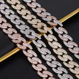 Mens 14mm Hip Hop Fashin Oval Baguette Prong Set Street Wear Bling Link Chain Necklace