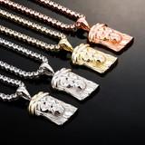 Street Wear Casual Fine Jewelry Solid 925 Sterling Silver Jesus Piece Pendant Chain Necklace