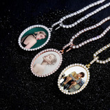 Flooded Iced Oval Custom Photo Picture Selfie Hip Hop Pendant Chain Necklace