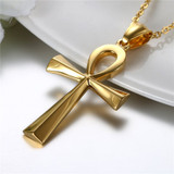 Classic Ancient African Egyptian Ankh 14k Gold over Stainless Steel Cross Pendant Chain Necklace