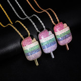 Multi Colored 3A+ Micro Pave Ice Cream Hip Hop Pendant Chain Necklace