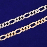 Mens 10mm White Yellow Gold Flooded Ice 5A Micro Pave Figaro Link Chain Necklace