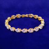 Ladies Soft Heart 24k Gold 925 Silver 8mm Double Cluster Stone Tennis Bracelets
