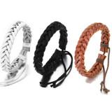 Men's Genuine Leather Braided Adjustable Fashion Bracelets