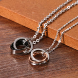 His Queen Her King Stainless Steel Forever Love Couples Pendant Chain Necklaces