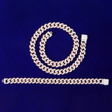Ladies Bling Bling 10MM Miami Cuban Rose Gold Silver Bracelet Necklace Jewelry Sets Combo