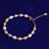 Ladies Casual High Fashion 925 Sterling Silver Rose Yellow Gold Pearl Bracelet