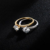 Ladies Bling Classic Moissanite D Color VVS1 Solid Sterling Silver Ring