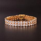 24k Gold 925 Bling 10mm Silver 2 Row Flooded Ice Mens Hip Hop Tennis Bracelet