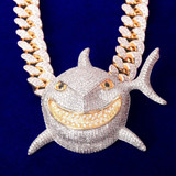 Scintillating Shark Head On Cuban Necklace That Flaunts Your Personal Style