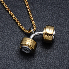 Mens Moving Weight Two Tone Titanium Stainless Steel Dumbbell Pendant Chain