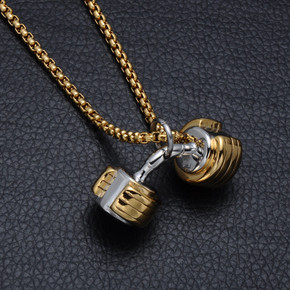 Two Tone Titanium Stainless Steel Dumbbell Pendant Chain Necklace