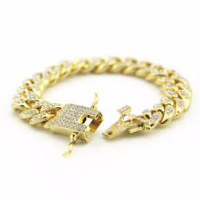 14k Gold Flooded Iced Hip Hop Miami Cuban Link Bracelet