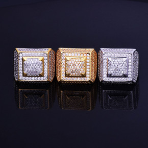 Lab Diamond Square Ice Micro Pave 14k Gold Silver Iced Out Full Hip Hop Ring