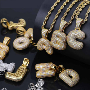 24k Gold .925 Silver AAA True Micro Pave Flooded Ice Custom Bubble Letters Initials Hip Hop Chain Pendant