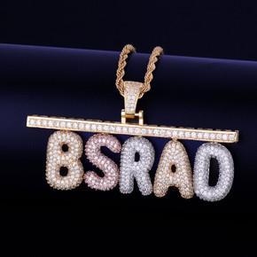 Custom 18k Gold Rose Silver Name Plate Flooded Ice Hip Hop Bar Chain Pendant