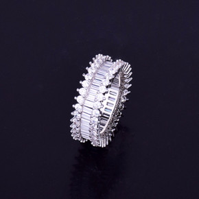 .925 Silver Baguette Stone Flooded Ice Stone Ring