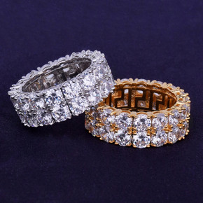 Two Row Solitaire 18k Gold .925 Silver AAA Clustered Flooded Ice Ring
