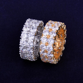 18k Gold .925 Silver 2 Row Clusters of Ice Hip Hop Rings