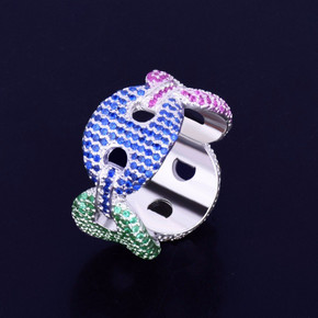 .925 Silver Colorful Stone 12mm Flooded Ice Gucci Link Ring