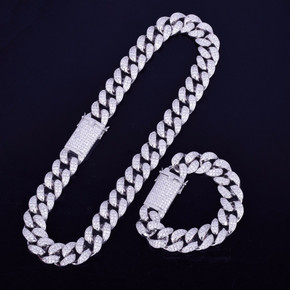 Miami Cuban Link Chain Necklace Bracelet Jewelry Set Combo