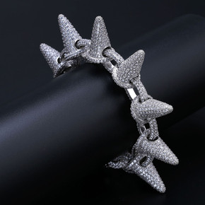Mens AAA Flooded Ice Micro Pave Stone 24k Gold Silver Rivet Spike Bracelet