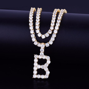 18k Gold AAA Stone Tennis Letter Custom Initial Hip Hop Pendant Chain Necklace