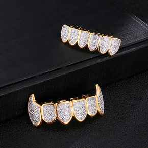 Flooded Ice 14k Gold Silver AAA Micro Pave Fang Teeth Grillz Top Bottom Set