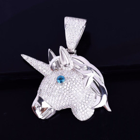 AAA True Micro Pave Flooded Ice Unicorn Horse Head 18k Gold .925 Silver Pendant Chain Necklace