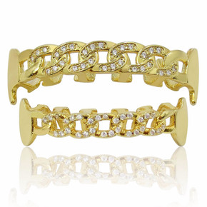 Flooded Ice Micro Pave Hip Hop Cuban Link Fang Top Bottom Teeth Grillz Set