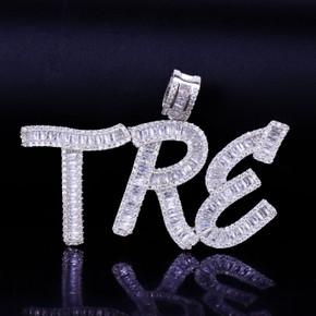 18k Gold Silver Custom Name AAA Handset Baguette Letters Hip Hop Pendant Chain