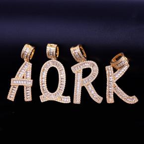 18k Gold Custom Baguette Letters Name Pendant