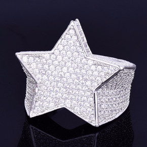 Hip Hop Five Star Men's 18k Gold Silver Iced Lab Diamond Micro Pave Ring
