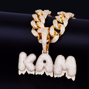 20MM Cuban Link Custom Name Frozen Ice Dripping Bubble Letters Pendant