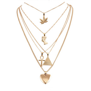 Womens Queen Personality Peach Heart Cross Pyramid Weed Leaf African Egypt Multilayer Necklace Set