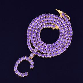 Hip Hop Purple Hazed Custom Tennis Letter Pendant Chain Necklace