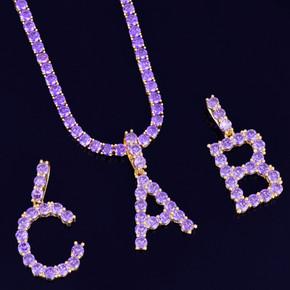 Hip Hop Purple Hazed Lab Diamond Tennis Letter Pendant Chain Necklace