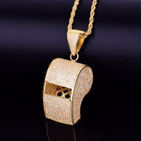 18k Gold AAA Micro Pave Stone Whistle Pendant