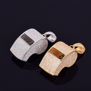 Micro Pave Silver 14k Gold AAA Stone Flooded Ice Hip Hop Referee Whistle Pendant Chain Necklace