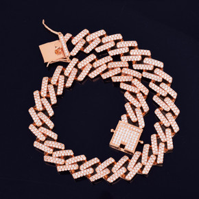 24k Rose Gold 925 Silver 18mm Square Designer Cuban Link Hip Hop Flooded Ice Chain Necklace
